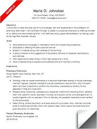 Objective For Pharmacy Resume Hospital Pharmacist Resume Examples Example Objective Sample