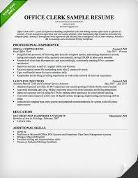 Office Clerk Resume Samples