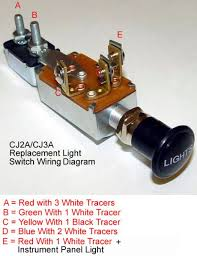 headlight switch dimmer switch the cj2a page forums factory dimmer switch has 3 connections not 4