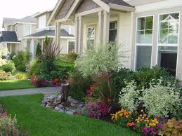 various plants and colorful flower plants around house landscaping front yard with green grass and stone ideas