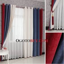 lovely red striped curtains and red and dark blue modern striped long curtains dark