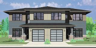 popular house plans. D-625 Modern Prairie Duplex House Plan, 4 Bedroom, Master On The Main Popular Plans