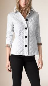 Lyst - Burberry Diamond-Quilted Jacket in White & Gallery. Women's Quilted Jackets Adamdwight.com