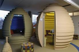google office in usa. egg shaped conference halls spread throughout the office google in usa