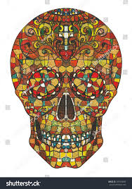 skull stained glass hand color painting on paper