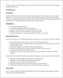 Resume Templates: Pipeline Welder