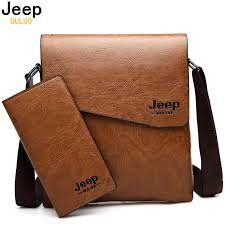 Men Bag <b>JEEP BULUO Famous</b> Brand 2 pcs Set Man Leather ...