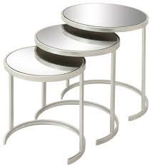 Allentown Metal Mirrored Tables, Set Of 3, Silver Contemporary Coffee Table