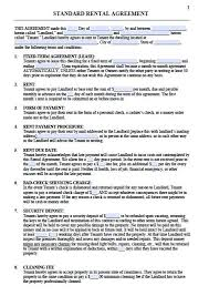 standard rental agreement template printable sample residential lease agreement template form real