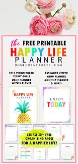 Free Printable 2019 Planner 30 Amazing Life Organizers