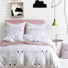 cute white kitten pattern pillowcase 2 3cs pduvet cover set soft bedding sets usa queen double king twin size bedlinen bedspread comforter queen sets cotton