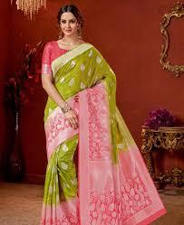 Green Saree With Pink Blouse Design Fascinating Light Green Silk Saree