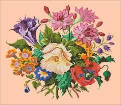 Bouquet with lilia cross stitch pattern Handbag antique   Etsy