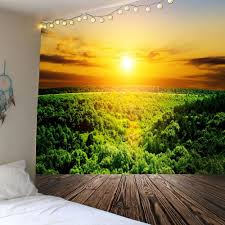 green w71 inch l71 inch waterproof sunset forest wall hanging tapestry pwgoln