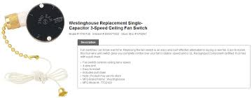 ceiling fan has only one speed the home depot community single capacitor3 speed switch by westinghouse