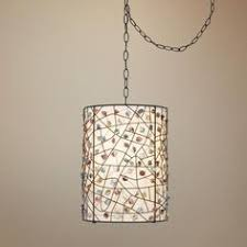 swag pendant light. Pearly Colored Stone Bronze Finish Plug-in Swag Pendant - Light