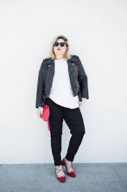 picture of black pants a white tee a black leather jacket red strappy shoes