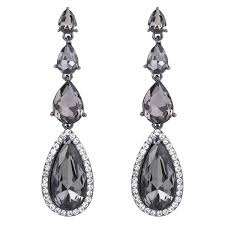 brilove teardrop chandelier earrings black silver tone