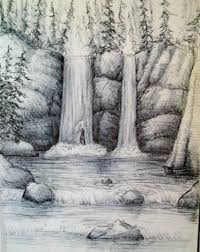how to draw a waterfall step by step