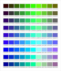 Blue In Green Chart Free 5 Sample Css Color Charts In Pdf Word