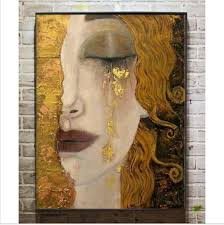 2019 portrait of woman modern art golden tears gustav klimt oil painting replicas high quality hand painted from cyon2017 90 62 dhgate com