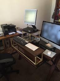 diy standing desk conversion. Delighful Desk DIY Standing Desk Conversion Made Out Of PVC And Wood For Under 40 Intended Diy Conversion E