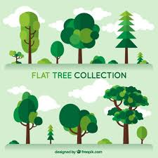 Tree Design Set Trees Of Different Kind In Flat Design Vector Free Download