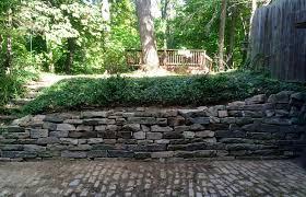 flagstone retaining wall rebuild complete
