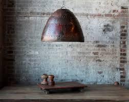 pendant lighting for restaurants. Large Industrial Pendant Light Rusted Fixture Riveted Lamp Shade Commercial Lighting Restaurant For Restaurants