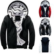fur lined hoos for men details about men winter warm fleece hoo zip up sweater jacket fur lined hooded coat fur lined zip up hoo mens