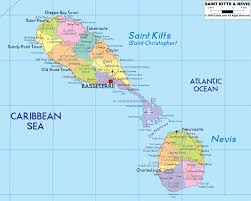 detailed political map of saint kitts and nevis  ezilon maps