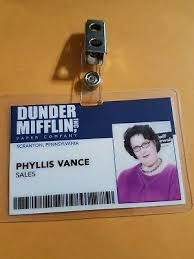 Badge Office The Office Id Badge Dunder Mifflin Phyllis Vance Cosplay