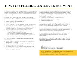 Tips For Placing An Advertisement