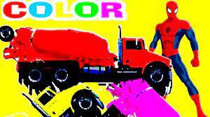 Người nhện và những siêu anh hùng lái xe bồn trộn bê tông nhiều màu sắc | nhạc  thiếu nhi tiếng anh - YouTube