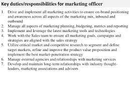 Marketing Officer Job Description Marketing officer job description 1
