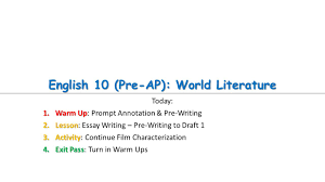 english pre ap world literature today warm up warm up  1 english 10 pre ap world literature