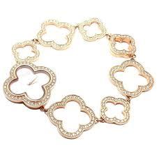 van cleef arpels rose gold diamond mother of pearl vintage alhambra wrisch for