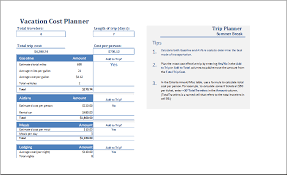 vacation budget template ms excel vacation cost planner template excel templates