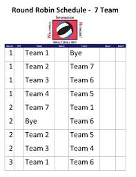 7 Team League Schedule Template Templates Station