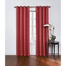 eclipse blackout round and round wine red polyester grommet blackout curtain 52 in