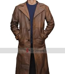 men s brown trench coat waxed brown leather coat