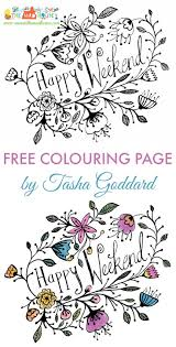 Free Happy Weekend Adult Colouring Page