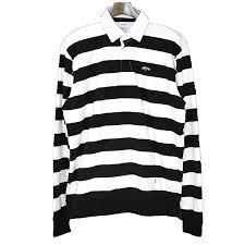 noah noah 18ss horizontal stripe rugby shirt men black x white l