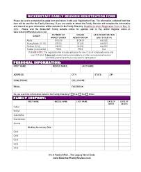 Family Reunion Book Template Class Family Reunion Registration Form Template Forms Large Lupark Co