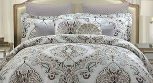 com tahari full queen duvet cover set large fl paisley medallion dusty blue grey taupe navy blue gray home kitchen