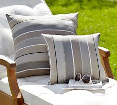 Sunbrella Outdoor Pillows With Horizontal Stripes Pattern And