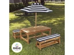 kidkraft outdoor table chair set w cushions navy stripes 00106