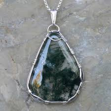 green moss agate freeform style pendant in sterling silver item214