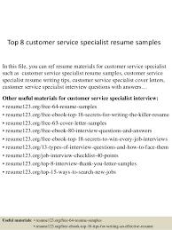 Top 8 Customer Service Specialist Resume Samples