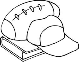 outline of football equipment and a book coloring page